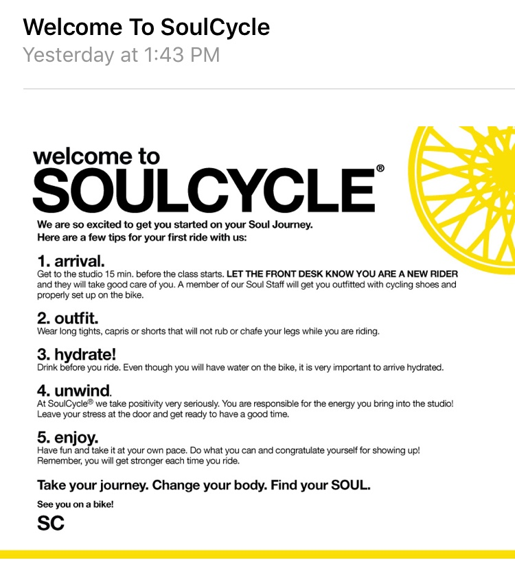 SoulCycle Email